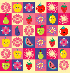 pattern with funny cartoon flowers and set of vector image