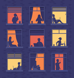 People in windows apartment building look out vector