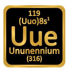 Periodic table element ununennium icon vector