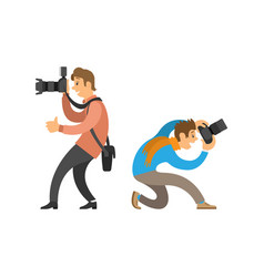 photographers taking photos with digital cameras vector image
