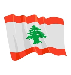 political waving flag of lebanon vector image