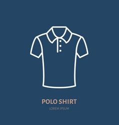 Polo shirt icon clothing shop line logo flat vector