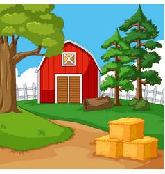 Red barn in farmyard vector