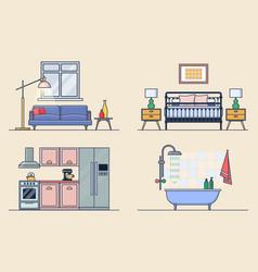 Rest room kitchen bathroom and bedroom interiors vector