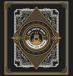 retro vintage coffee shop template with flourish vector image