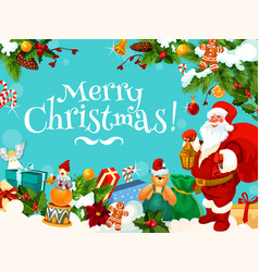santa and christmas gift frame for new year card vector image