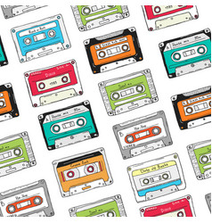 Seamless pattern plastic cassette audio tape vector