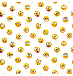Seamless pattern with funny yellow emoji faces on vector