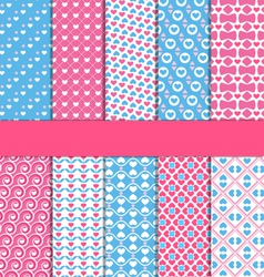 Set of 10 seamless love patterns vector image