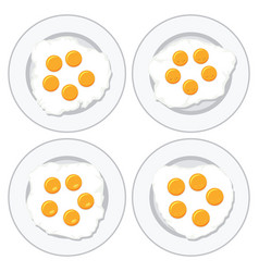 set of delicious fried eggs on plates for vector image