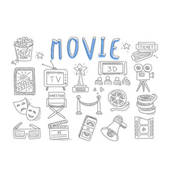 Set of doodle icons related to cinema vector