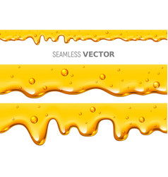 Set of two seamless dripping honey on white vector