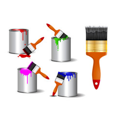 set realistic brush paint or paint can vector image