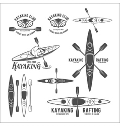 set vintage rafting labels vector image