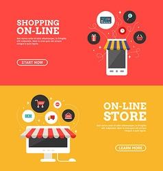 Shopping on-line online store set flat design vector
