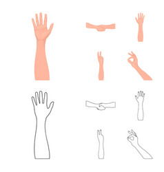 Sign language cartoonoutline icons in set vector