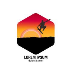 skate board logo vector image