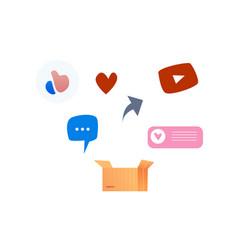 social media symbols icon set like heart vector image