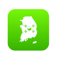 south korea map with flag icon digital green vector image