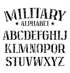 Stencil plate serif font military vector image