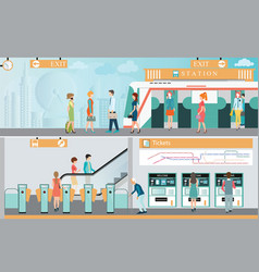 Subway train station platform with people vector