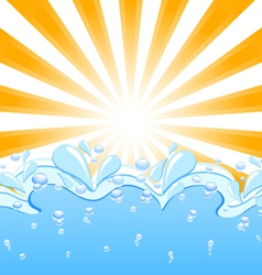 sun with the waves and water drops vector image
