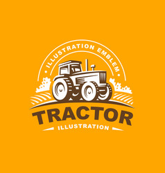 tractor logo on orange background vector image