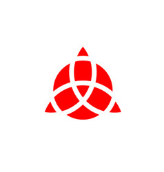 triquetra geometric logo red trinity knot wiccan vector image