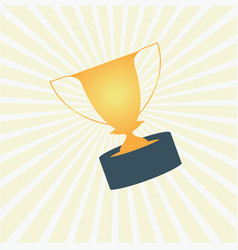 Trophy award cup on yellow rays background vector