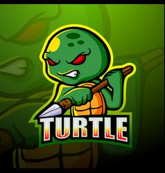 turtle mascot esport logo design vector image