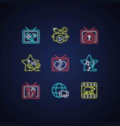 tv neon light icons set vector image