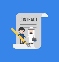 two tiny businessman make a deal contract flat vector image