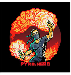 Ultras football fan holding pyro in hands tshirt vector
