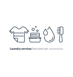 washing clothes laundry mono line icon t-shirt vector image