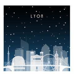 winter night in lyon night city vector image