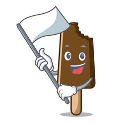 with flag chocolate ice cream mascot cartoon vector image