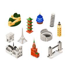 world famous landmarks - colorful isometric set of vector image