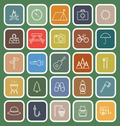 Camping line flat icons on green background vector image
