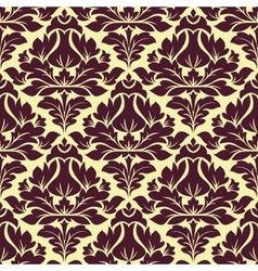 Floral seamless beige and purple damask pattern vector image