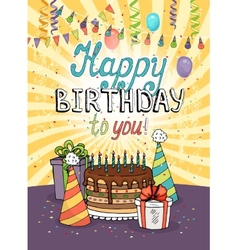 Happy Birthday greeting card or invitation vector image