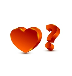 heart and question mark vector image vector image