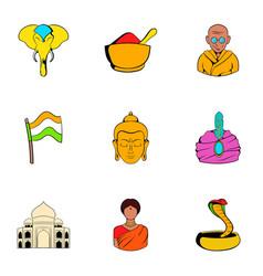 India icons set cartoon style vector