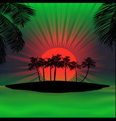 red and green sunset over tropical island vector image vector image