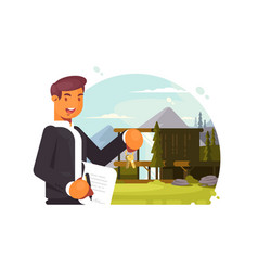 successful realtor sells property vector image