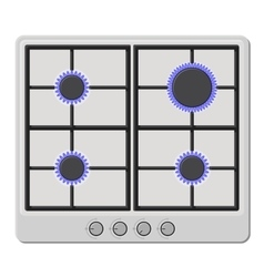 Surface of White Gas Hob Stove with Fire On vector image