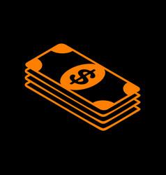 bank note dollar sign orange icon on black vector image vector image