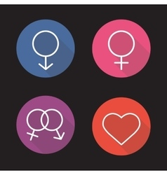 Gender symbols flat linear long shadow icons set vector image vector image