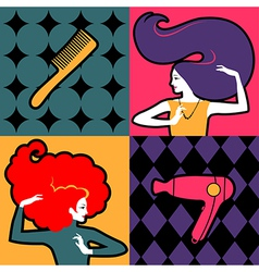 hair girls vector image