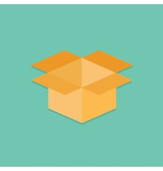 Opened yellow cardboard package box Flat design vector image