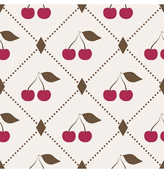 Seamless pattern with cherries and polka dot rhomb vector image vector image